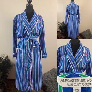 Alexander Del Rossa Blue Cotton Striped Long Robe
